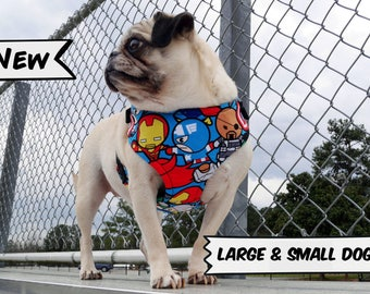 Comic Book Cartoon Dog Harness, Available in Two Styles for Large & Small Dogs; Handcrafted by Nerdy Pug Studios in Atlanta, Georgia