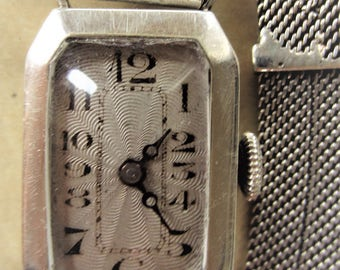 Stunning 1928 Ladies Silver Swiss Watch and Silver Bracelet