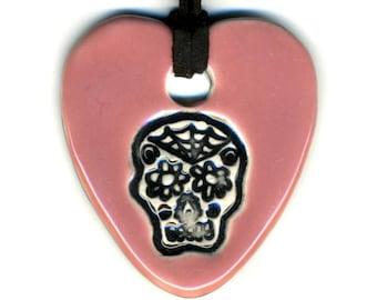 Dia de Muertos Skull Ceramic Necklace in Pink
