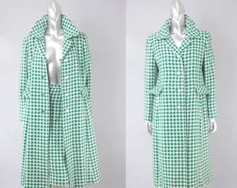 Dorothy Bullitt houndstooth coat & skirt | vintage 1960s suit | 60s wool coat