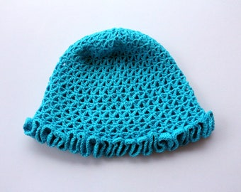 Baby Hat, Summer Hat, Turquoise Hat, Crochet Baby Hat, Baby Girl Gift, Hand Crocheted Item, Cotton Hat, Crochet Baby Girl Hat, Ready to Ship