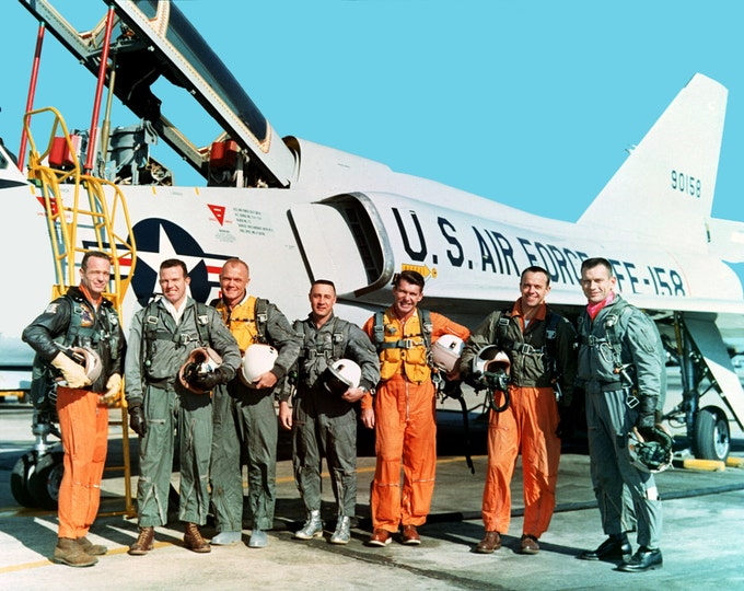 Mercury 7 Astronauts Stand Near F-106B Aircraft - 5X7, 8X10 or 11X14 NASA Photo (EP-004)
