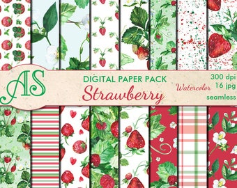 Digital Watercolor Strawberry Seamless Paper Pack, 16 printable Scrapbooking papers, Floral Collage, Decoupage, Instant Download, set 365