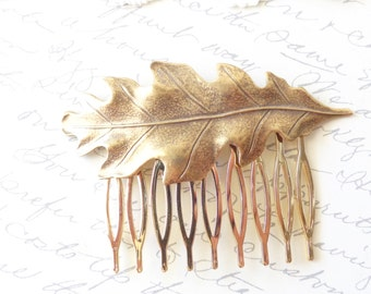 Golden Ox Brass Leaf Hair Comb - Oak Leaf Hair Comb - Woodland Leaf Hair Accessory - Wedding Hair Comb - Bridal Oak Leaf Hair Comb