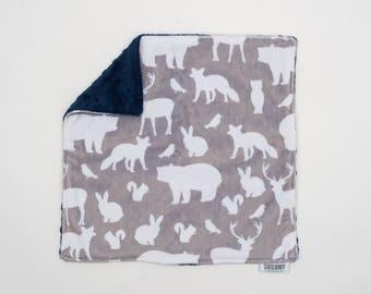Lovey Woodland Animals. Ready to Ship. Mini Baby Blanket. Baby Shower Gift. Woodland Lovie. Lovie. Security Blanket. Minky Blanket.