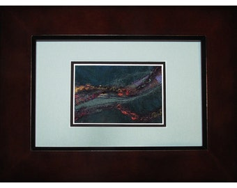 Mini Art Quilt, Framed Abstract Quilt, Fabric Mosaic Northern Lights
