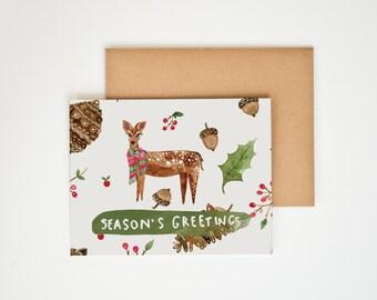 Season's Greeting, Watercolor Christmas Cards, Holiday Decor, Deer Antlers, Animal Prints, Nature Lover Gift, Winter Art, Meera Lee Patel