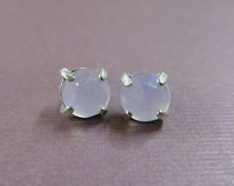6mm Post Earrings 6 Pairs  - Chalcedony - Citrine - White Topaz - Sky Blue Topaz - Amber - Beautiful Natural Gemstone Posts
