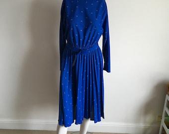 Vintage 80s Cobalt Blue Geo Print Pleated Skirt Midi Dress