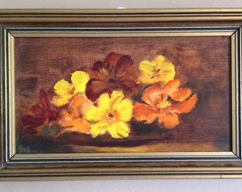 Original Vintage Painting in Gilded Wooden Frame. Still Life Flowers Painting.  ROP0195