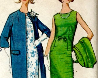 1960's Sheath Dress  and Coat Ensemble Simplicity No. 5841 Sewing Pattern , Dress Suit - Bust 36