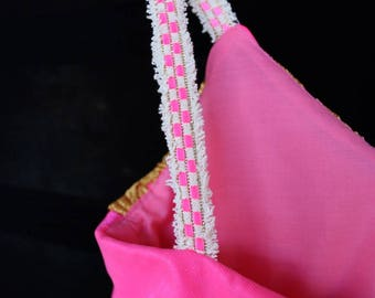 Hot Pink and Gold Empire Dress