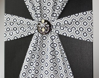 Handmade Fabric Cross Canvas Wall Hanging Black Gray & White