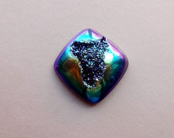 Cobalt Blue Titanium Druzy geode square cabochon 20x20 mm ring size cabochon for ring