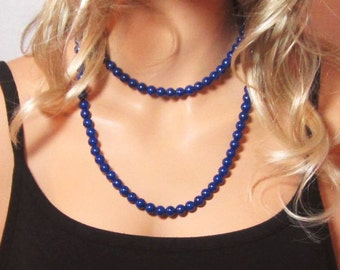 Navy Blue Necklace - Long Blue Necklace - Double Wrap Necklace -Single Wrap