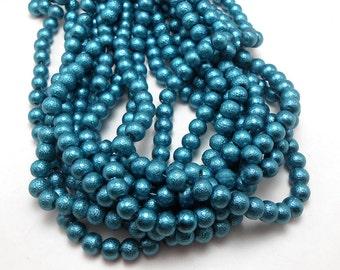 56 Textured Blue Glass Pearl Beads 6mm (H2145)