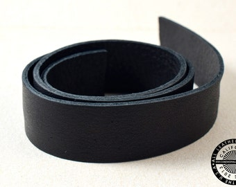 "Genuine Leather Strap, Bag Strap, Flat Leather, Raw Cut, Double-sided, Black, 20 mm (3/4"" inch) 1 yard (36"" inch) (1517)"
