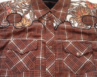 Nudie Jeans Western Short Sleeve Shirt Plaid  Brown Unique Design  Small Size