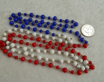 """Vintage Red White & Blue Glass Bead 60"""" Long Necklace"""