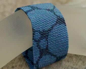 Slate Blue Cobblestones ... Peyote Bracelet . Beadwoven Cuff . Monochromatic . Stone . Rock . Modern . Simple
