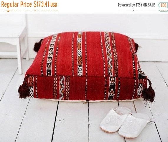 Pouf Sale 30% Off// 23''x23'' x 7'' Tribal Vintage Moroccan pouf, Red Berber pouffe, Floor cushion, Moroccan pouf, Floor pouf, Square Pou