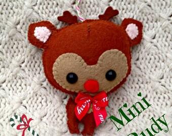 MIni Rudy Handmade Felt Hanging Decoration - Felt Reindeer Tree Decoration - Rudolph Tree Ornament