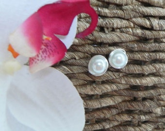 Pearl Stud Bridesmaids Earrings silver wire wrapped post gift earrings WHITE DAINTY PEARL studs.
