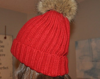 Popular selling Dark Red Cotton Thick Female Beanie Cap With Fur ball