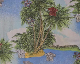 80s fabric Novelty fabric Hawaiian fabric large scale palm trees tropical fabric palms  Hawaiian shirt fabric Hawaiian dress fabric