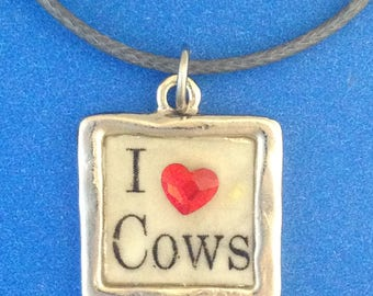 I Love Cows Clear Enamel in Pewter Frame with Red Heart Shaped Swarovski Crystal Pendant Necklace on Leather Cord. 4H and FFA Gifts.