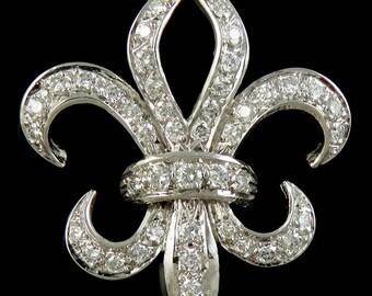 Finest Quality 14K White Gold & 2 Carat Diamond Fleur De Lis Pin