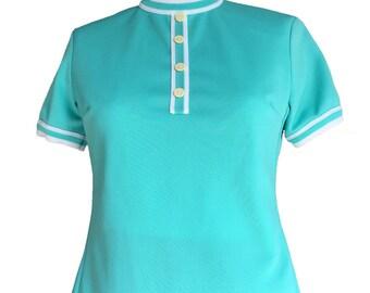 Vintage 1960s Aquamarine Crew Neck Shirt