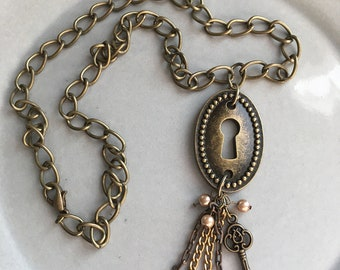 Bronze Keyhole Necklace Handmade Key Jewelry Boho Gypsy