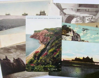 Vintage UK scene postcards: set of 12 early 20th century postcards. Ephemera for collecting, scrapbooks, craft, travel journal. PC171