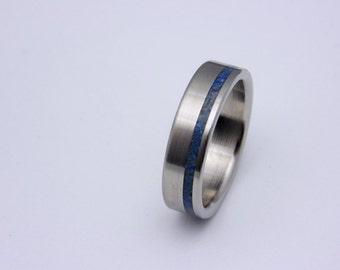 Titanium Ring Meteorite Ring Deer Antler and Lapis Lazuli