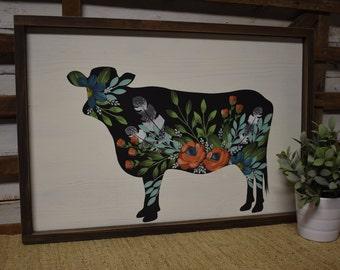Floral Cow | Rustic Farmhouse Decor | Cottage Farmhouse Decor | Hand Painted