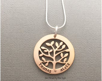 Personalised Necklace / Family Tree Necklace / Hand Stamped Necklace / Mother's Day / Gift For Mum / Gift For Her / Valentine's Day gift