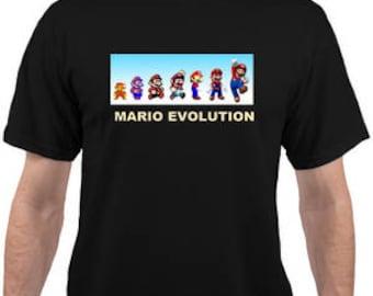 Adult and kids Mario Evolution Black T-shirt