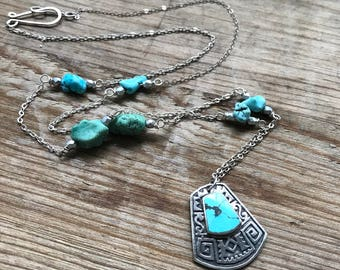 Turquoise Long Layering Necklace Gifts Under 60 Boho Chic Bohemian Statement Jewelry Gemstone Necklace December Beachy Summer Southwestern