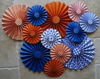 """Set of 12 Large 12"""" / 6"""" Paper Rosettes/Fans - Blue and Orange"""