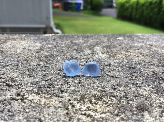 Cornflower Blue, Surf Tumbled Seaglass, Hypoallergenic Stainless Steel Stud Earrings