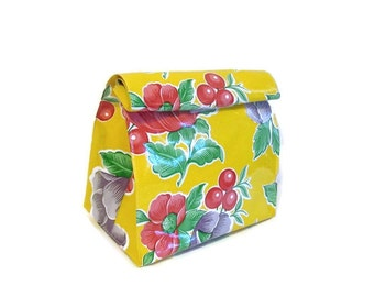 Bag,Lunch,Snack,Yellow,Floral,Oilcloth,Doggy,Sack,Reusable,Vintage Style,Handmade,USA,Gifts For Her