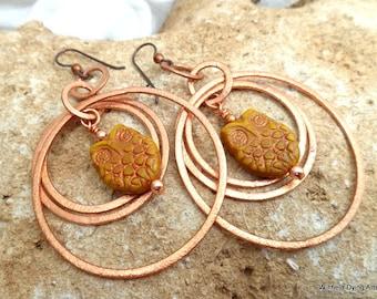 Copper Hoopa and Owl Earrings