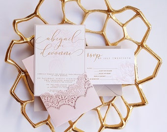 Lace wedding invitations etsy spring wedding invitation blush lace wedding invitation laser cut pocket blossomed design filmwisefo Image collections