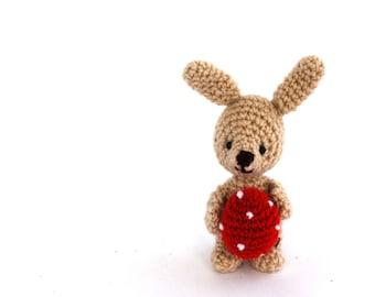 miniature bunny, tiny bunny with red Easter egg, crochet bunny, amigurumi bunny, Easter decoration, plush rabbit, Easter rabbit doll