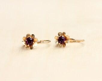 Amethyst Earrings Gold, Purple Amethyst Studs, 14K Gold Studs, 14K Gold, Gold Studs, Amethyst Studs, Purple Studs, Gold Amethyst Studs