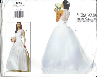 90s Vogue 1945 Designer Vera Wang Bridal Gown Sewing Pattern UNCUT