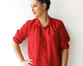 Vintage Red Blouse / Semi Sheer Scarlet Shirt / Size L XL