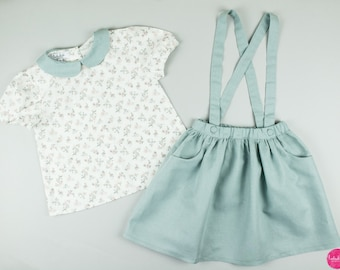 2-piece outfit: blouse with Peter Pan collar + skirt with straps girl christening dress flower girl wedding dress Flower Child