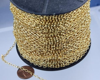 12 ft. Gold Finished Small Drawn oval Cable chain - 3.9x2.5mm unsoldered link